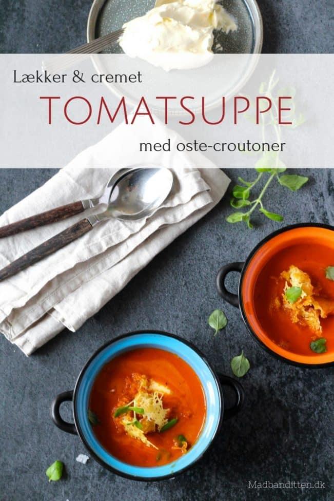 Tomatsuppe med bagte tomater og ostecroutoner - opskrift på den bedste tomatsuppe (LCHF)