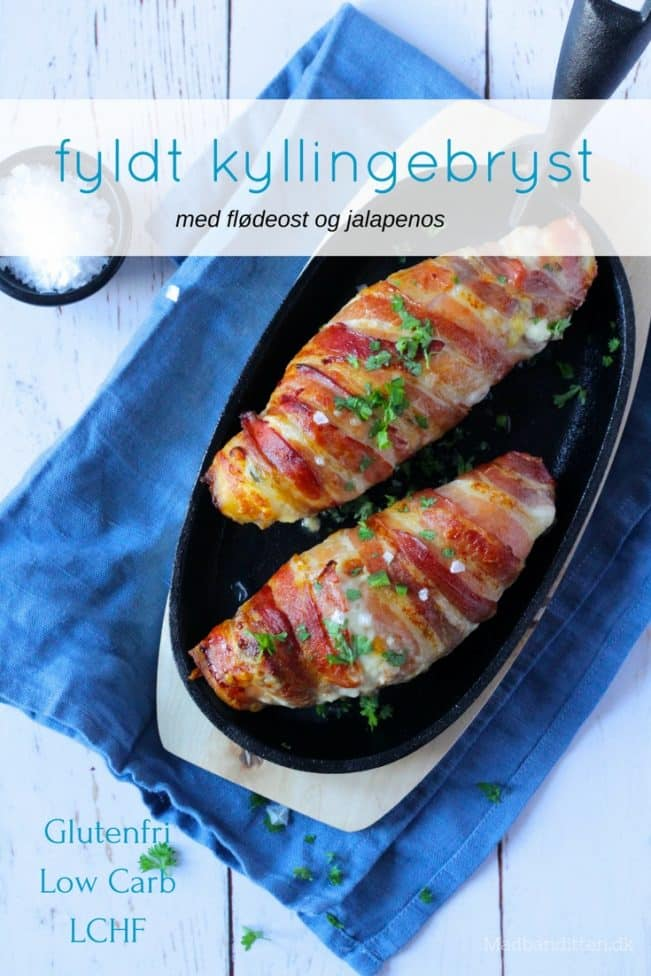 Fyldt kyllingebryst med ost og jalapenos - opskrift på den lækreste hverdagsmad. LCHF, low carb, keto.