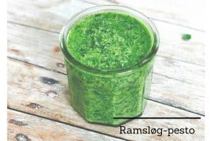 Ramsløg-pesto - opskrift på lækker pesto med ramsløg, ristede solsikkekerner og Manchego