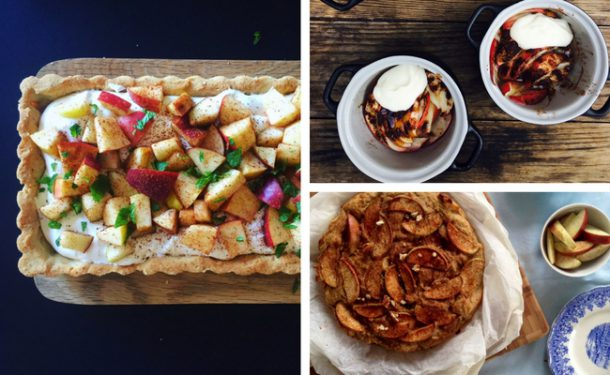 Tre lækre opskrifter med æbler - æbletærte, bagte æbler og æblekage. Alle glutenfrie og sukkerfri og low carb(-ish)