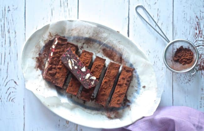 Chocolate fudge with raspberries and almonds - sugar-free. low carb and keto recipe