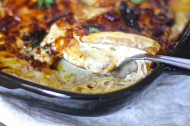Græskargratin - lækreste græskargratin med ost og sennep - næsten som flødekartofler