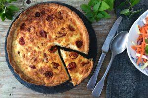 Ostetærte med soltørrede tomater - opskrift på den lækreste glutenfrie og LCHF tærte med sprød bund
