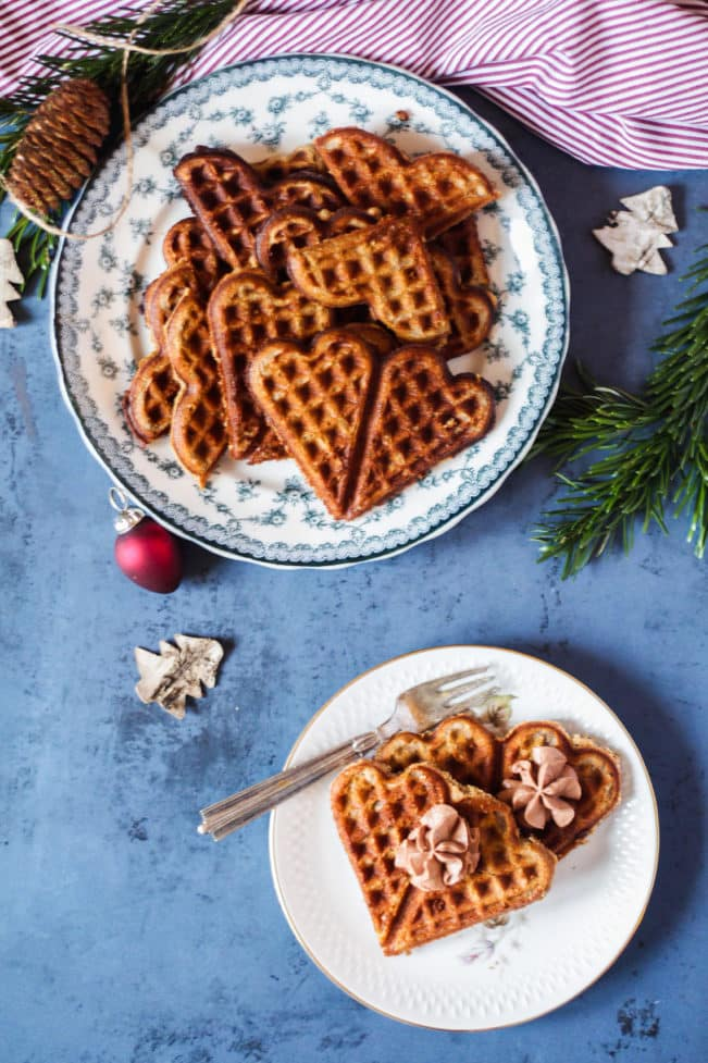 Julevafler med nougatskum - glutenfri, sukkerfri og low carb juleopskrift