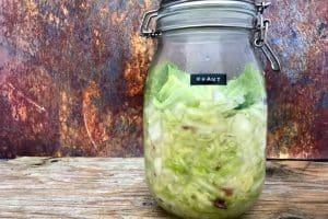 Kraut med hvidkål, fennikel og æble - læs om fordelene ved at spise fermenterede grøntsager som sauerkraut her