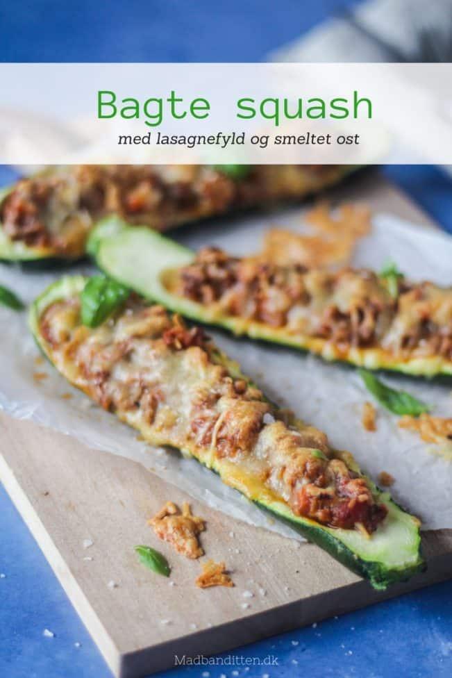 Bagte squash med lasagnefyld og godt med gratineret ost på toppen. Nem og dejlig hverdagsmad.