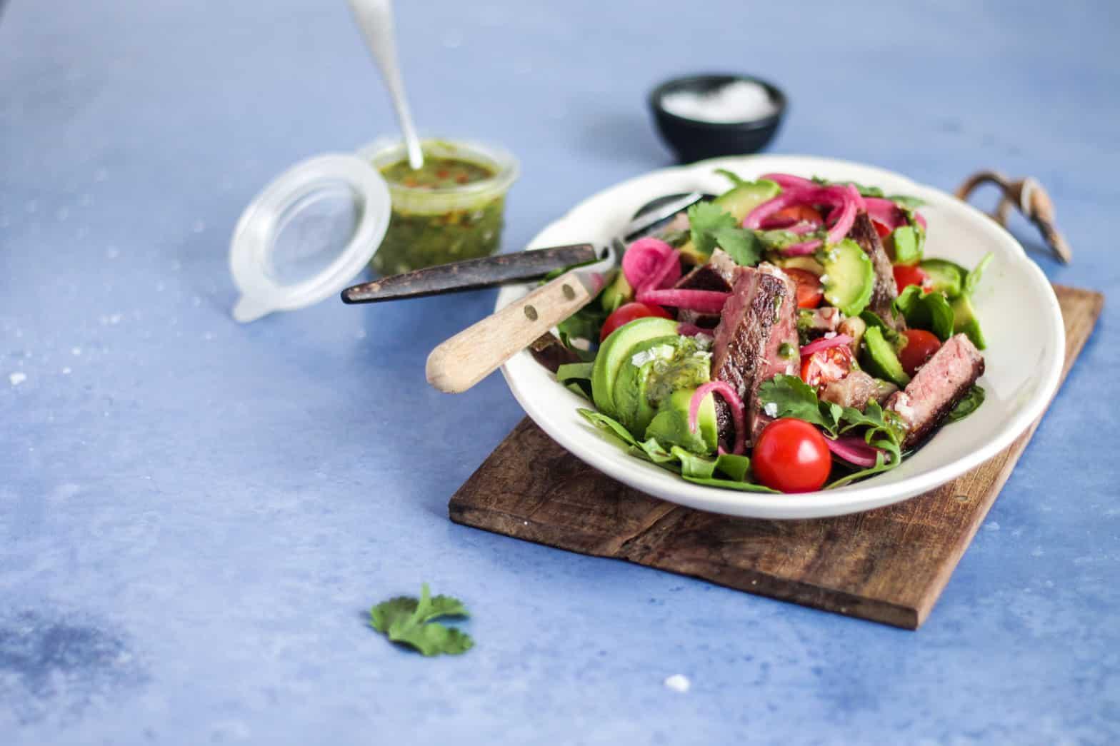 Steaksalat - lækker LCHF/keto salat med genial brug af rester