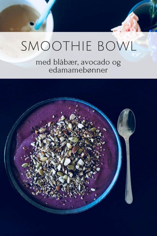 Smoothie bowl med blåbær, avocado og edamamebønner