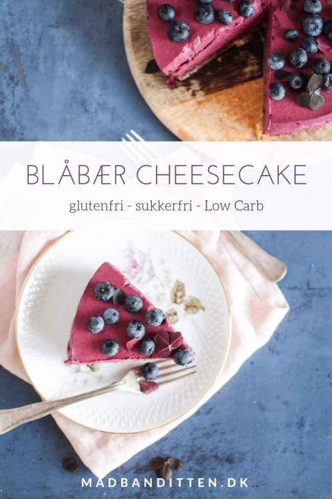 Blåbær-cheesecake - opskrift på cheesecake med blåbær - glutenfri, sukkerfri og Low Carb