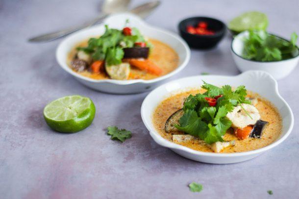 Thaisuppe Med Kokosmælk Og Kylling Dejlig Suppe Med Smag Af Thailand