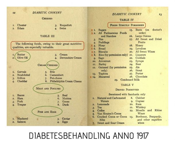 Diabetes behandling 1917 vs. 2019