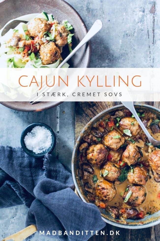 Cajun kylling - dejligt stærke cajun kødboller med kylling i cremet sovs