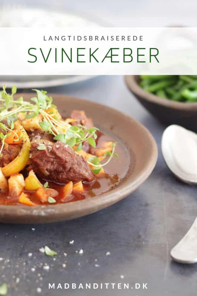 Svinekæber - opskrift på svinekæber braiseret i portvin. Smørmørt og lækkert kød.