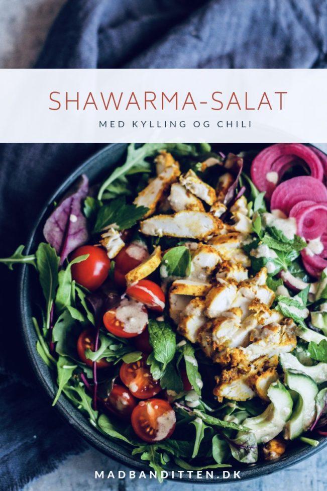 Shawarma-salat med kylling og lækker dressing - Low Carb - KETO - LCHF