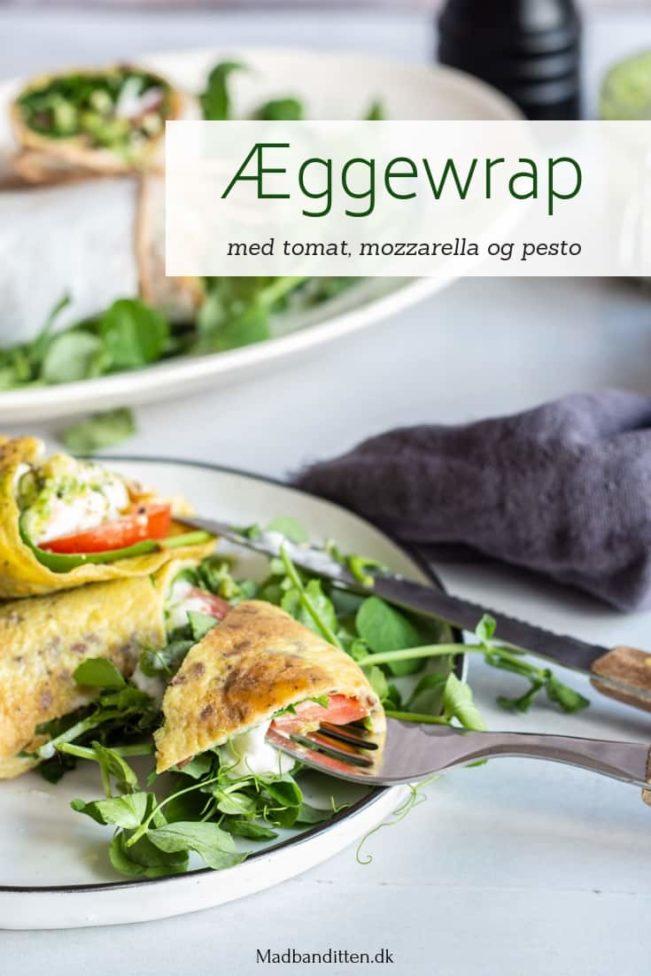 Æggewrap med tomat, mozzarella og pesto - lækker opskrift på low carb wrap uden mel og gluten