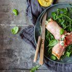 Skinkeruller med ricotta og spinat