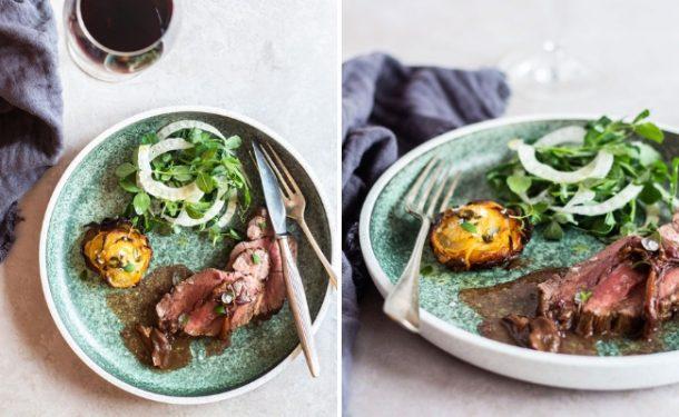 Kalvemørbrad med trøffelsauce og Pommes Anna af rodfrugter