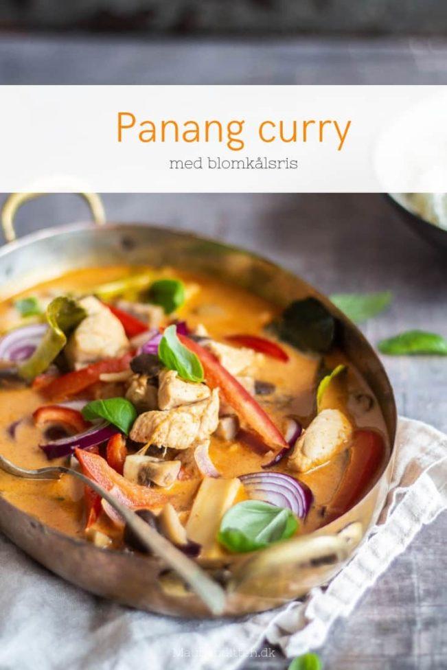 Panang curry med kylling og blomkålsris. Lækker Low Carb Thai mad.