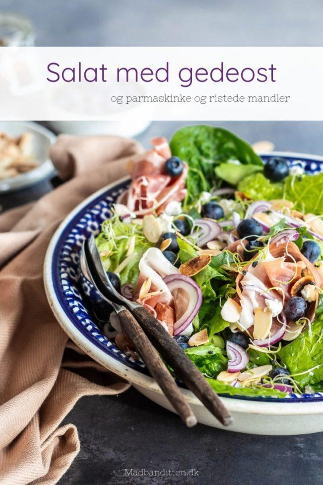 Salat med gedeost - opskrift på lækker og frisk forårssalat med gedeost, parmaskinke og avokado