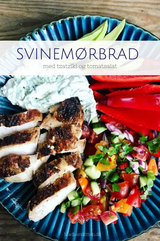 Svinemørbrad med tzatziki og tomatsalat - dejlig opskrift på sommermad