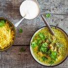 Indisk kylling med cremet spinat