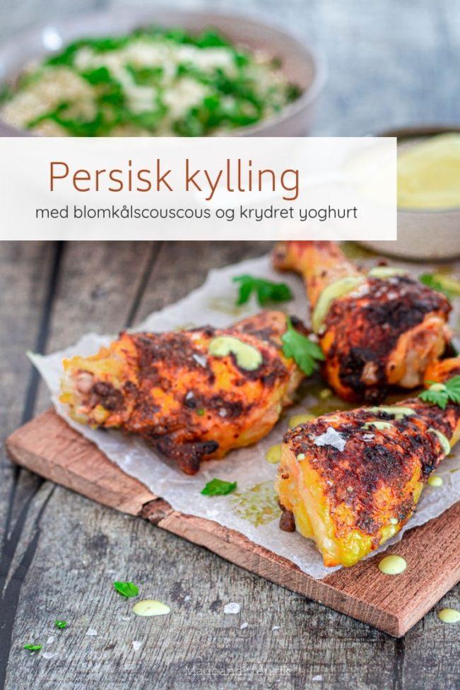 Persisk kylling - opskrift på dejlig krydret kylling med blomkålscouscous og yoghurtdressing