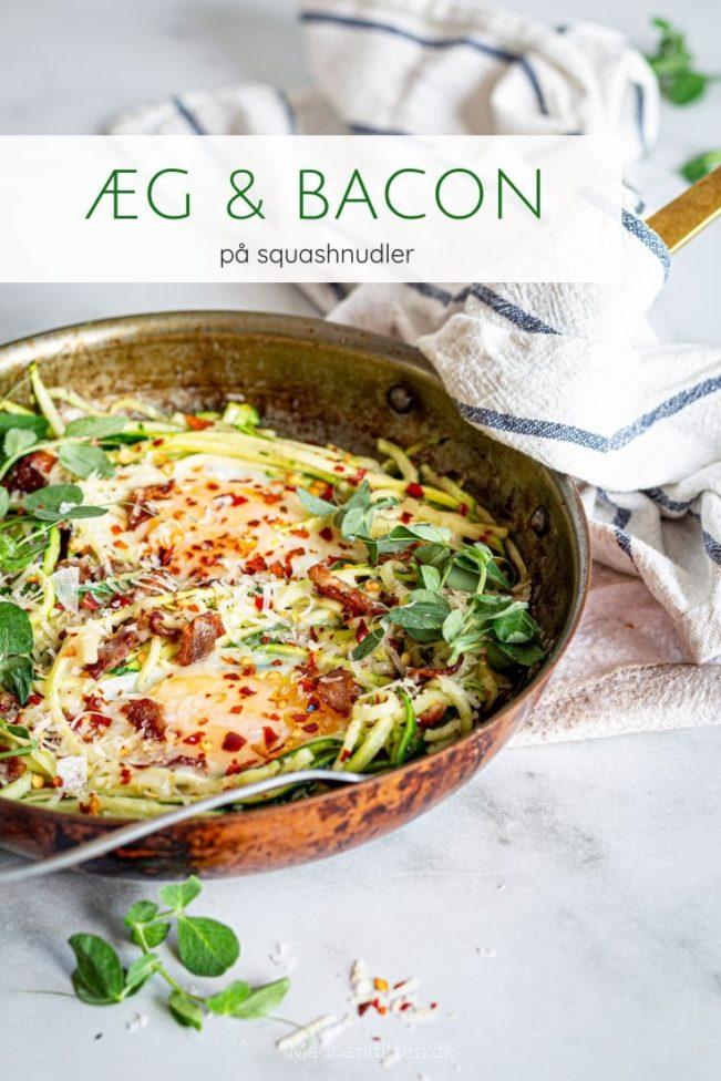 Æg og bacon på squashnudler