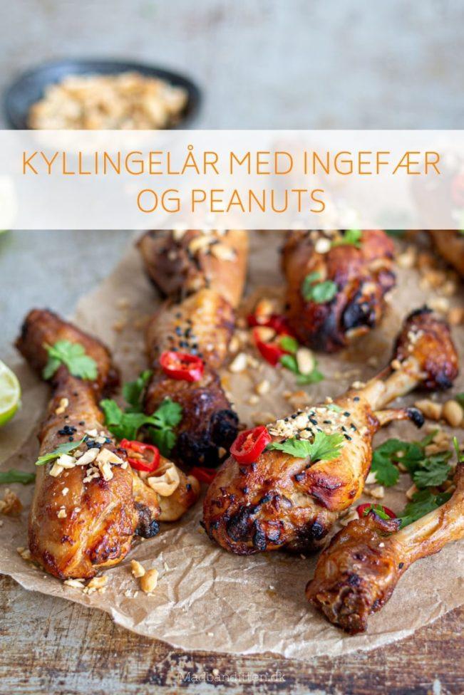 Kyllingelår med ingefær og peanuts - lækker opskrift på kyllingelår