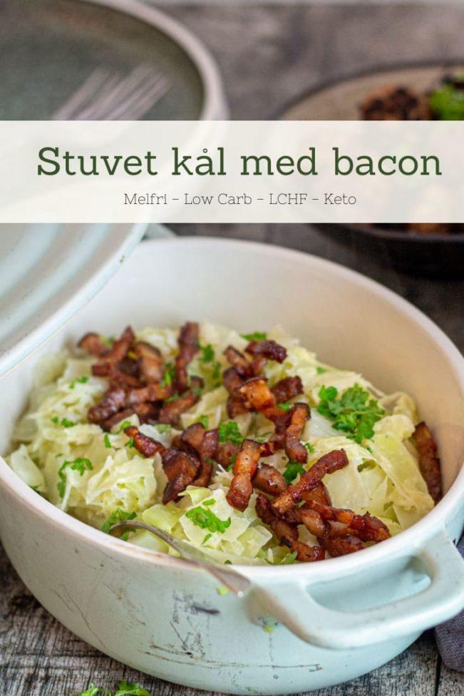 Stuvet kål med bacon - opskrift på Keto tilbehør - stuvet kål uden mel