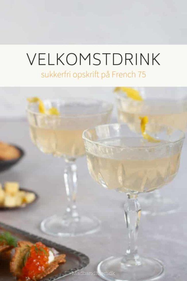 Velkomstdrink uden sukker - lækker og frisk cocktail - sukkerfri opskrift på French 75