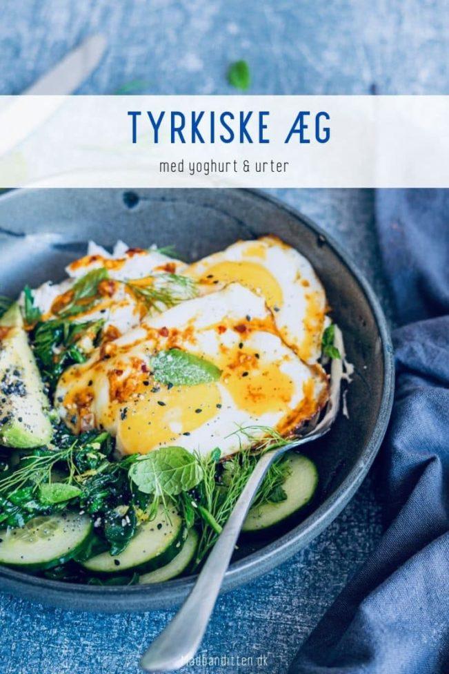 Tyrkiske æg med yoghurt og urter