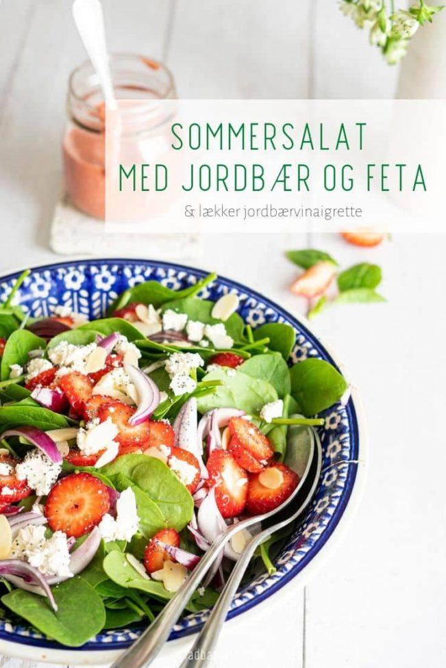 Sommersalat med jordbær og feta med den skønneste jordbærvinaigrette
