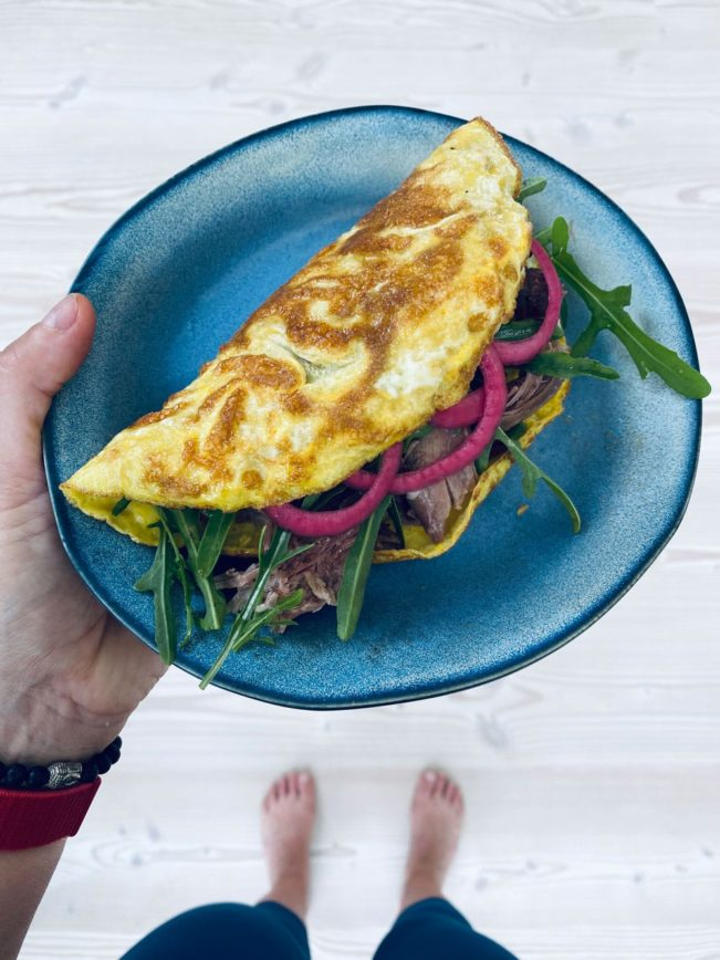 Omelet med and og rucola - dejlig Keto venlig frokost