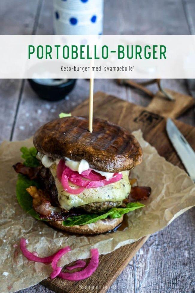 Portobelloburger - opskrift på Keto burger med svampebolle