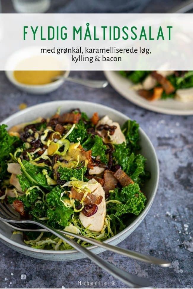Måltidssalat med grønkål, karamelisserede løg, kylling og bacon