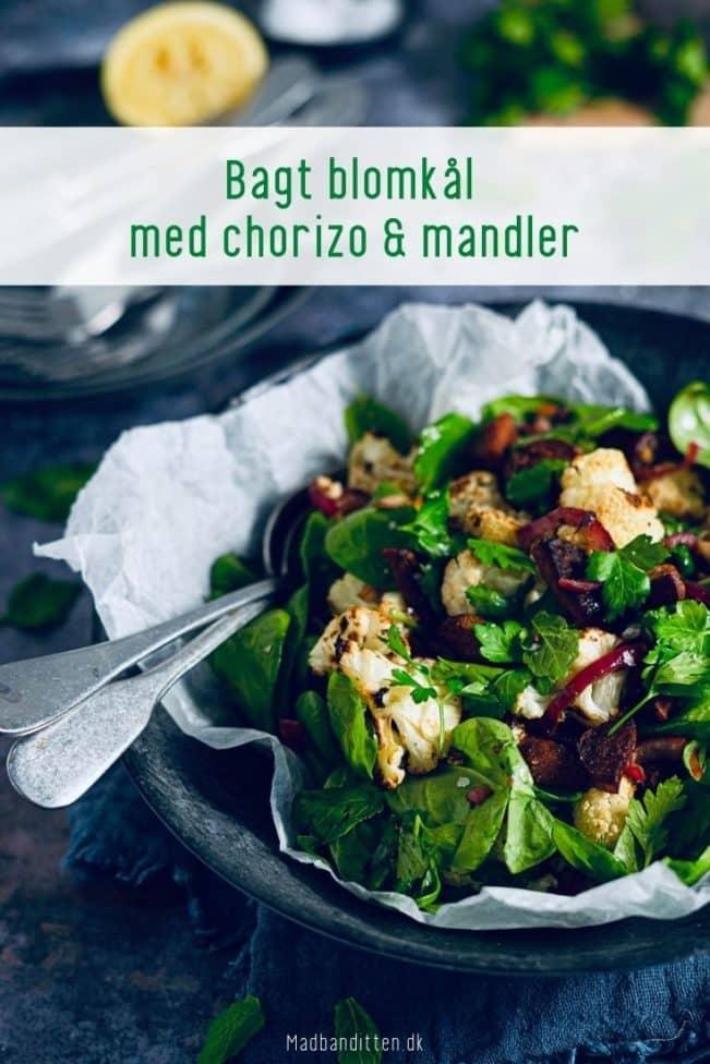 Bagt blomkål med chorizo og mandler - lækkert Keto tilbehør