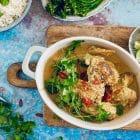 Malaysisk gryderet med kylling og peanubuttersovs