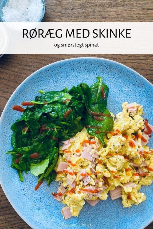 Røræg med skinke og spinat