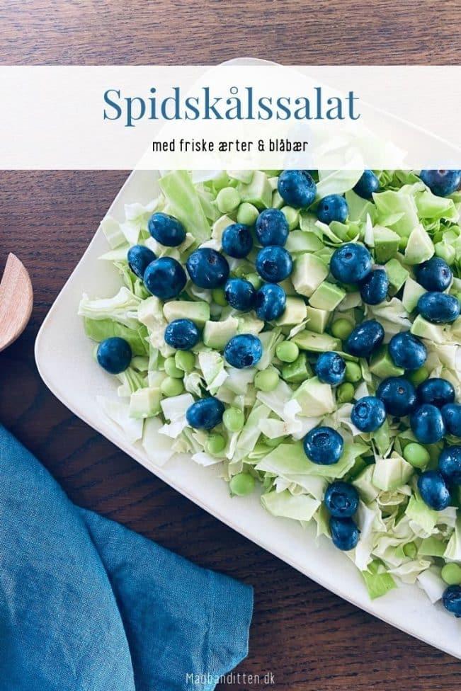 Spidskålssalat med friske ærter og blåbær - sund og lækker sommersalat