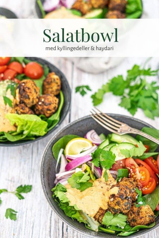 Salatbowl med kyllingefrikadeller og haydari