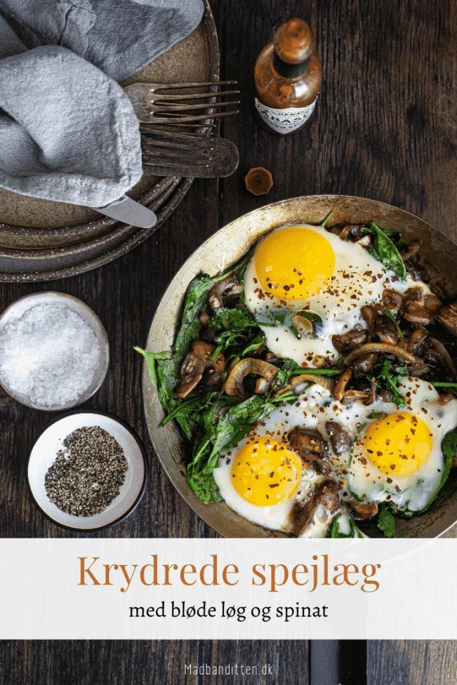 Spejlæg med bløde løg, svampe og spinat. Keto morgenmad.